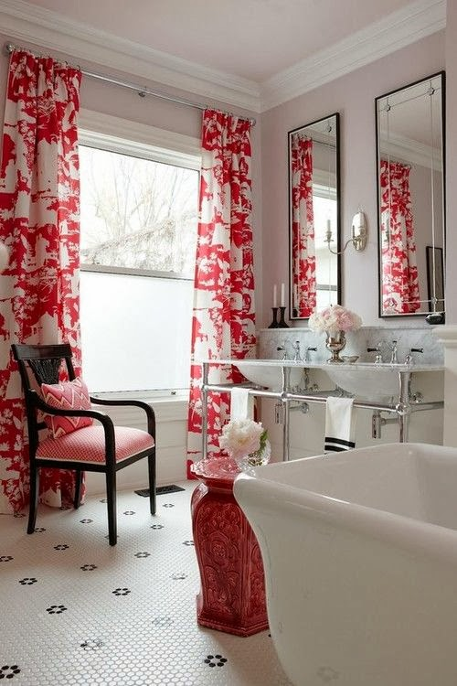 A Bathroom That Is Designed With White, Chrome And An Accent Of Black Is  Given A Distinct Style From The Crisp Red And White Toile Fabric. Part 50